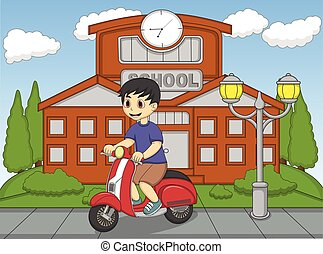The boy riding a scooter