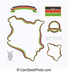 Colors of Kenya - Outline map of Kenya Border is marked with...