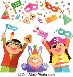 Purim elements and kids - happy kids celebrating Purim with...