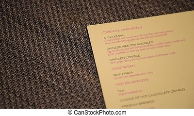 Panning food menu on textured background Food and beverage...