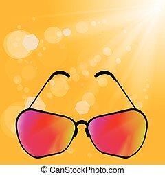 Retro Sun Glasses - Sun Glasses on Yellow Summer Blurred...