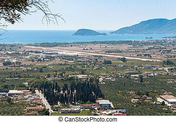 Aerial view of Zakynthos airport - Aerial view of airport...