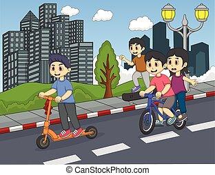 Children riding a kick scooter