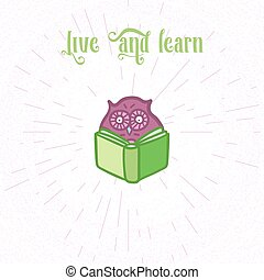 Owls hand drawn set - Hand Drawn Funny Owl with Book Owls...