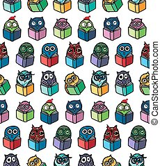 Owls hand drawn pattern - Hand Drawn Funny Owl with Book...