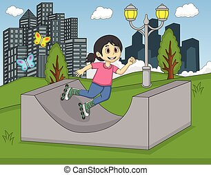 Little girl skating in the park