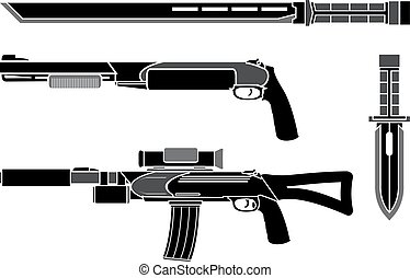 set of weapons of special forces. vector illustration