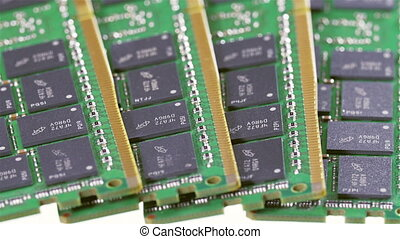 Many DDR4 computer memory modules RAM sliding video, closeup...