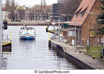 water gate with boat in berlin treptow