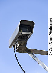 security camera - close-up of a surveillance camera in front...