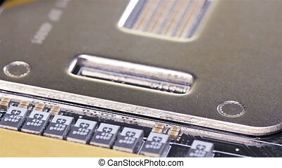 Back plates of dual CPU server mainboard closeup background,...