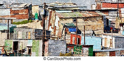 Township - Landscape with Shacks in Township in South Africa