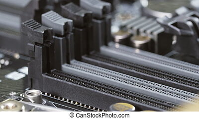 RAM socket and heat sink on computer main board, closeup...