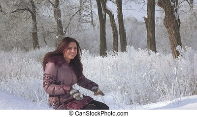 Girl with dogs in forest - In snowy winter forest girl...