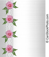 Pink roses and lace border Wedding - Image and illustration...