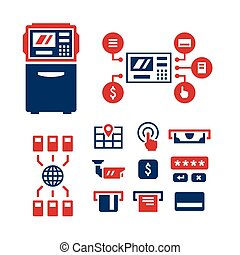 Set color icons of ATM isolated on white Vector illustration...