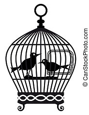 Vintage birdcage - vector graphic - Silhouette of lonely...