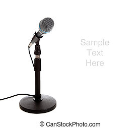 Microphone on white with copy space - A white microphone on...
