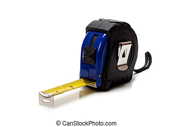 Blue tape measure on a white background - a Blue tape...
