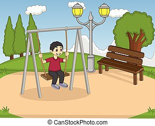 Children play swing in the park
