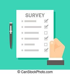 Flat design hand holding survey test paper illustration...