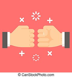 Flat design fist bump illustration vector