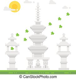 Flat design Haedong temple shrine illustration vector