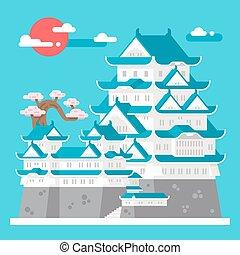 Flat design Himeji castle Japan