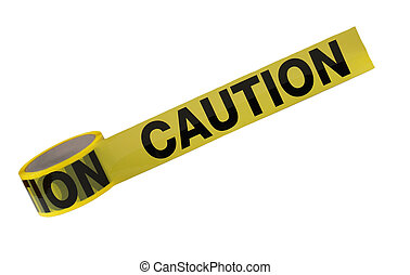 Caution Tape - A roll of caution tape is isolated on a white...