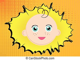 Cartoon baby face - Vector illustrated cartoon baby face on...