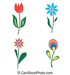 Set of retro spring colorful flower