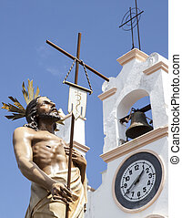 Float with Resurrected Chirst close to the church, Spain -...