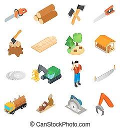 Lumberjack icons set, isometric 3d style