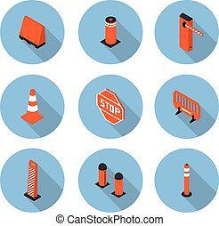 flat icons road equipment in vector format eps10