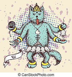 Kali indian god in cat cartoon in vintage style, vector