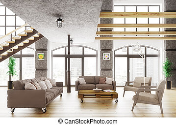 Modern loft apartment interior 3d render