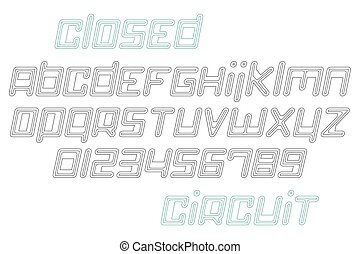 closed circuit - set of thin line, slanted alphabet letters...