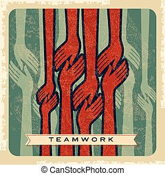 vintage vector of teamwork
