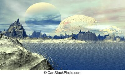 Fantasy alien planet.Rocks and lake - Rocks and lake....
