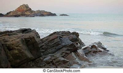 Early morning seascape - Tropical beach and sea shore during...