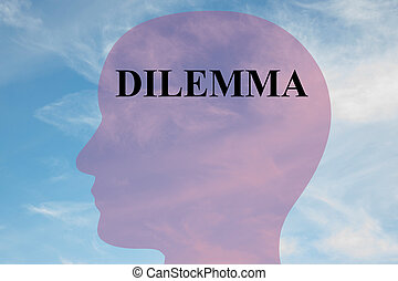 Dilemma concept - Render illustration of Dilemma title on...
