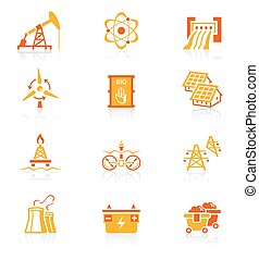 Energy icons JUICY series - Energy, power and electricity...