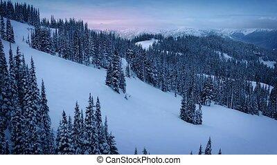 Moving Up Sunrise Mountainside - Gliding upwards in mountain...