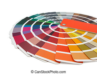 Color chart of paints isolated on white