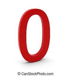 3D, render, vermelho, Número, zero, branca