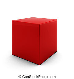3d render of red cube on white background
