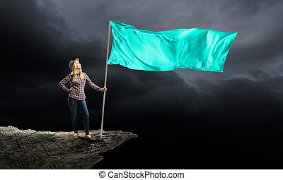 Woman with blue waving flag - Student girl in casual with...
