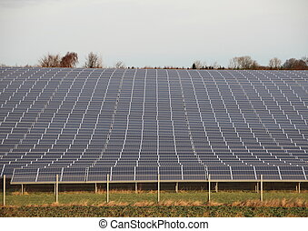 Sun Solar Industrial Plant with Fence and Horizon - Sun...