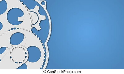 Technology concept with gears on blue background -...