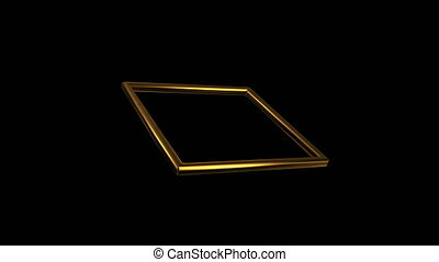 gold square rotation 45 degree angl - 3d render of golden...